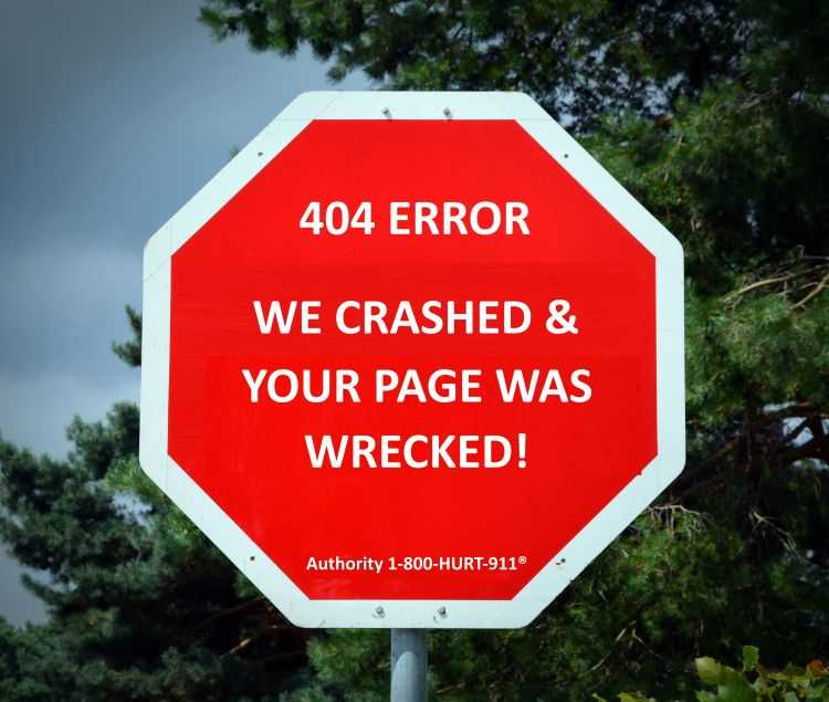 404 page not found error on stop sign