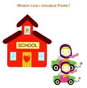 This is an image of a school and cars double parking in the school zone