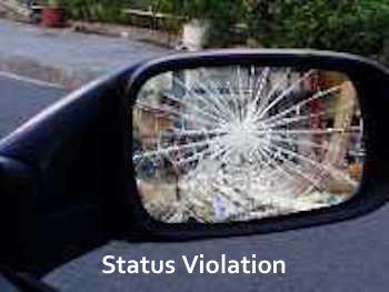 a broken mirror is a status violation in NYC parking ticket land