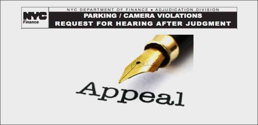 This represents the application to file to vacate a default judgment for a NYC parking ticket
