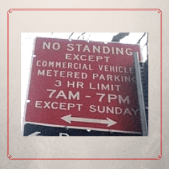 parking sign with except_except