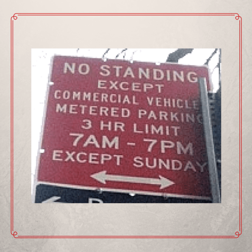 NYC parking sign with except_except