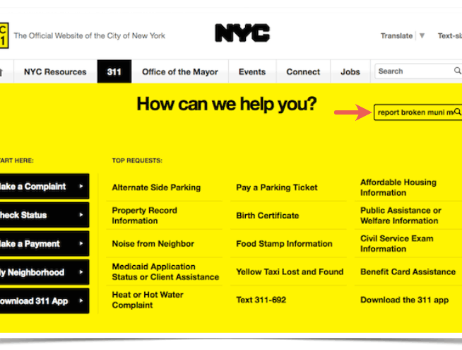 this image is a page on the 311 nyc gov website