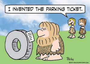 this image is a caveman saying she invented the parking ticket, and parking ticket laws is the subject of this article