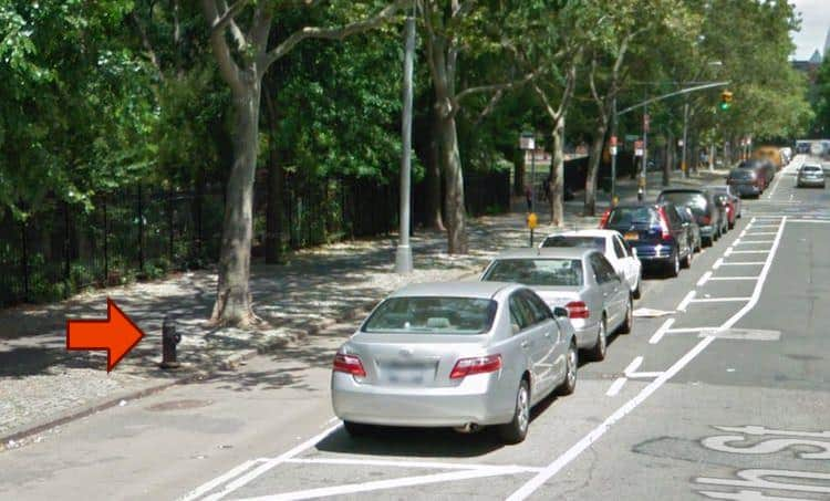 This is a Google Map image of the fire hydrant that generates the most revenue for NYC