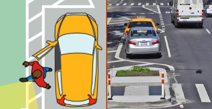 """These two images show """"Floaing"""" bike lanes"""