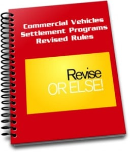 This image is an ecover for the E-book about revised rules for commercial vehicles enrolled in the fine settlement programs