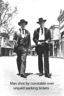 This image is two law men to represent a citizen shot by a constable over unpaid parking tickets