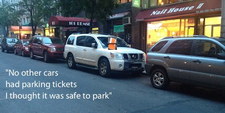 Line of cars with a parking ticket on only one car-social proof claims another victim