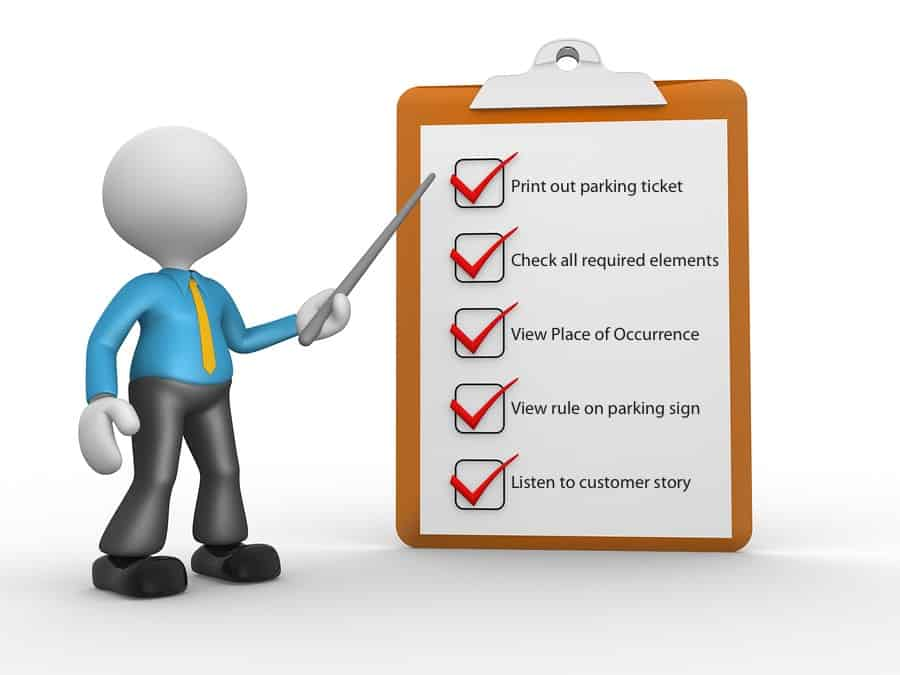 This image is a check list with 5 tips about fighting NYC parking tickets