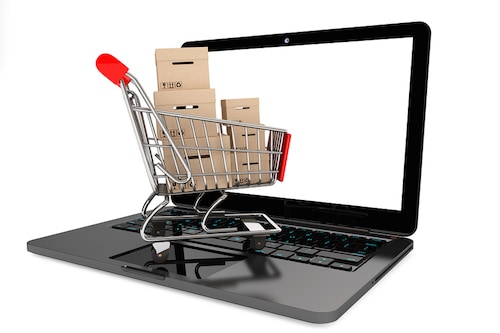 This image is a shopping cart on a computer representing shopping online.