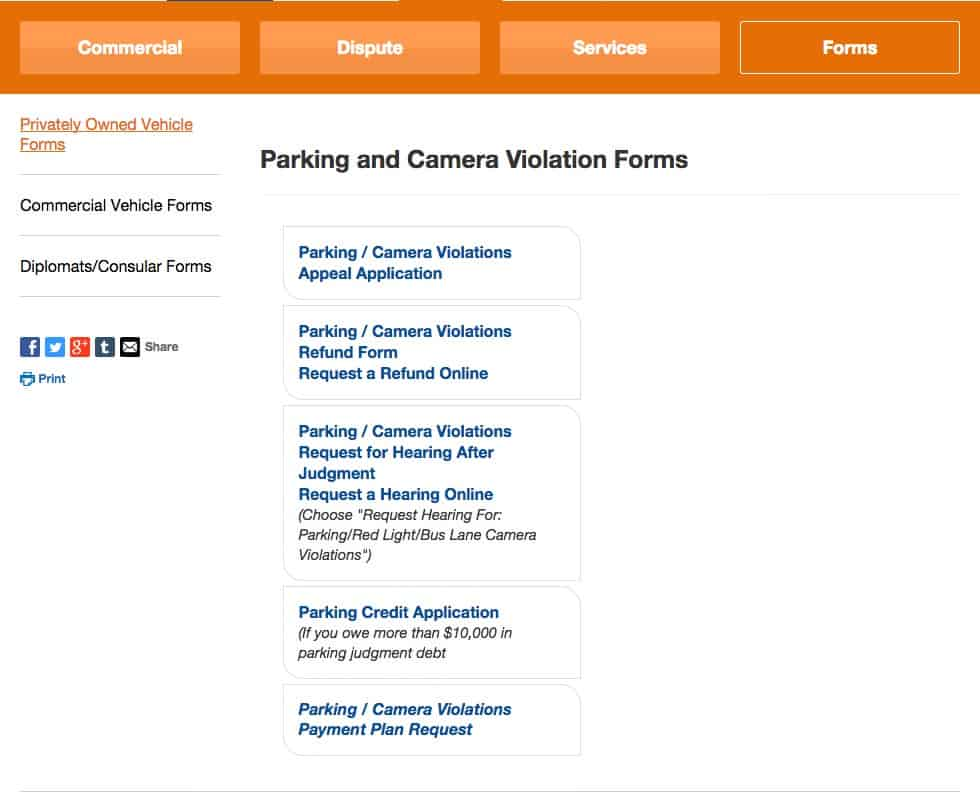 Department of Finance Forms website page