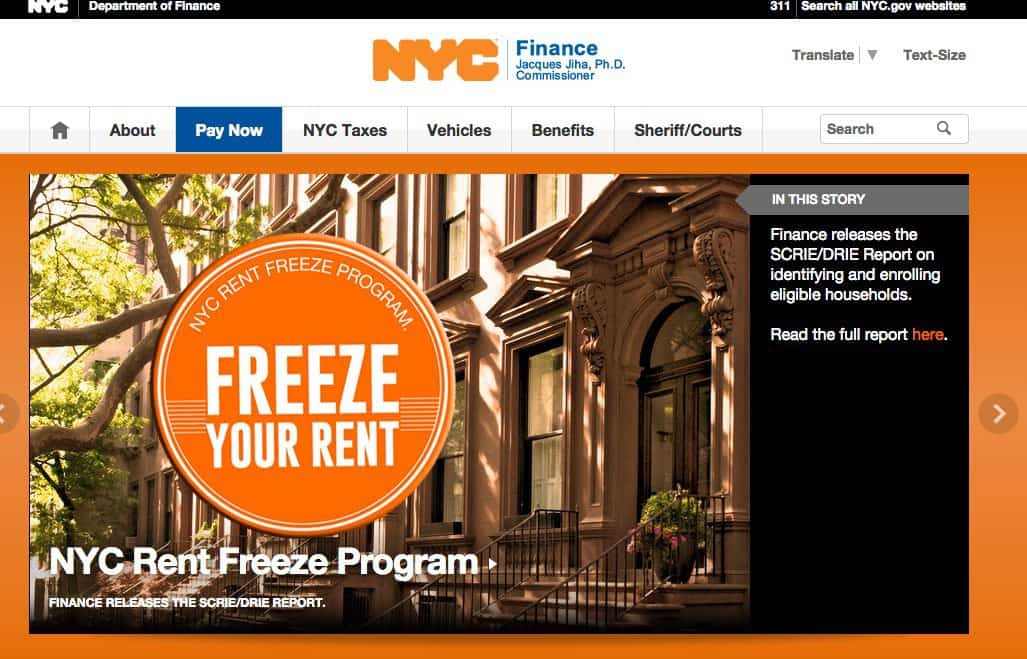This is the home page of the NYC Department of Finance website
