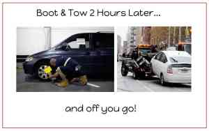 This image depicts applying a boot and tow 2 hours later