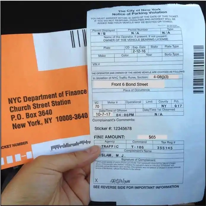 NYC parking violation for expired registration