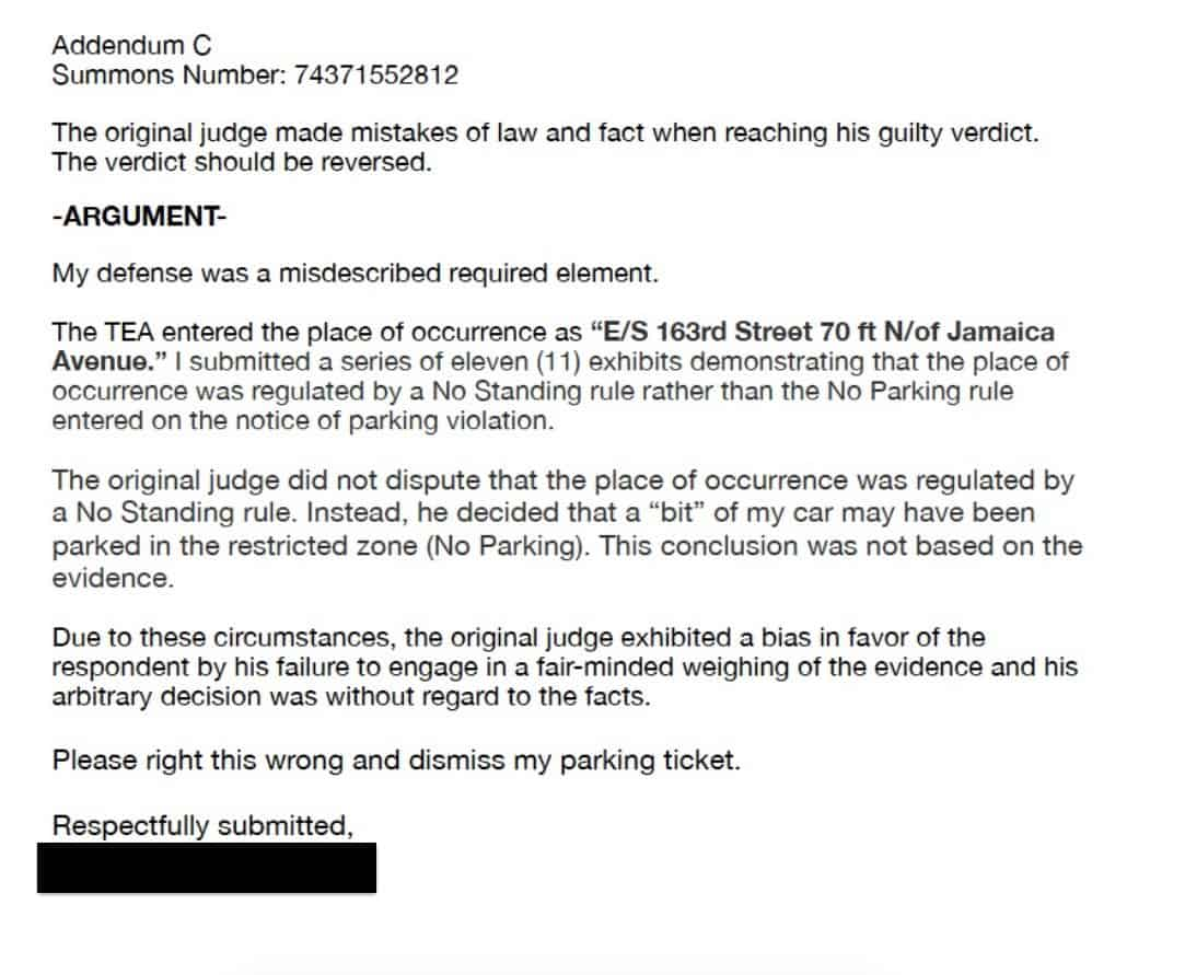 This is the Addendum to our parking ticket appeal