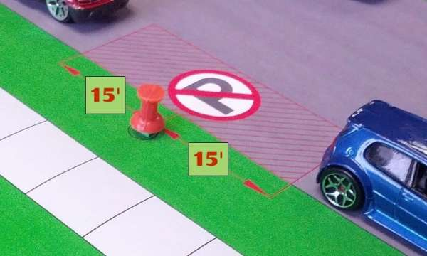 This diagram shows the distance you can park from a fire hydrant to avoid a NYC fire hydrant ticket
