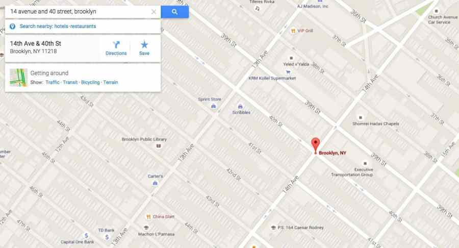 Google Map View of the place of occurrence on the NYC parking ticket
