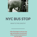 A NYC bus stop starts at the bus stop sign and extends...