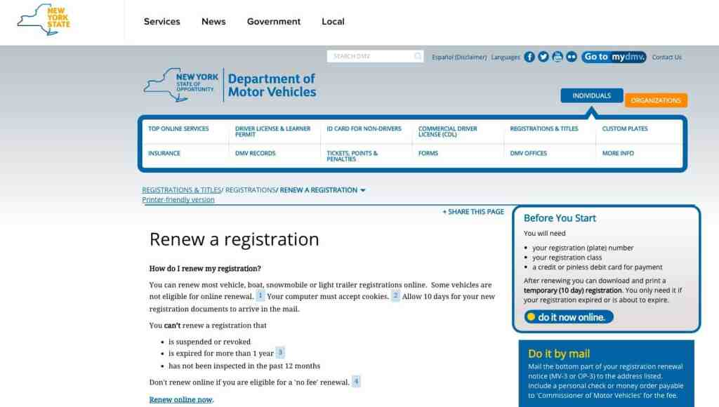 NY DMV avoid a parking ticket for expired registration
