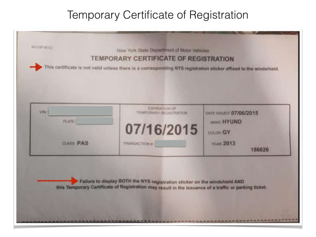 temporary registration certificate helps you avoid a parking ticket in nyc