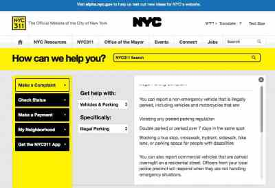 Report bike lane violations on 311 website