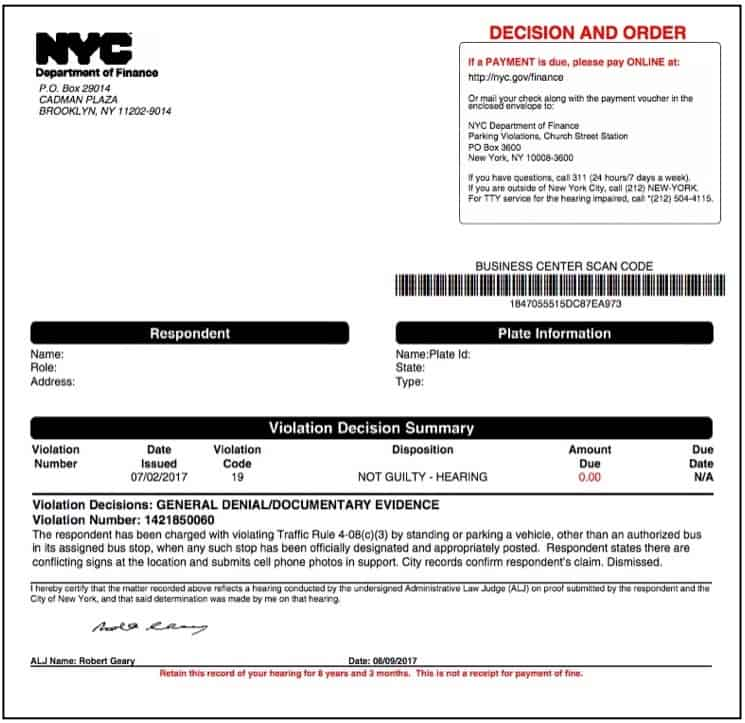 NYC parking tickets decision_not guilty