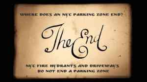 NYC driveways and fire hydrants do not end a parking zone