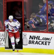New York Rangers' Eric Staal (12) takes to the ice prior to an NHL hockey game against his former team, the Carolina Hurricanes. in Raleigh, N.C., Thursday, March 31, 2016. (AP Photo/Gerry Broome)