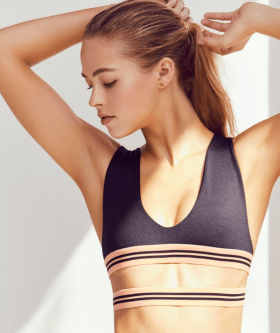 ECHO BRA - FREE PEOPLE - $82 Stay cool through any workout in this sleek, ultra low cut performance bra featuring a wraparound doubled elastic band with a contrast striped design. www.freepeople.com