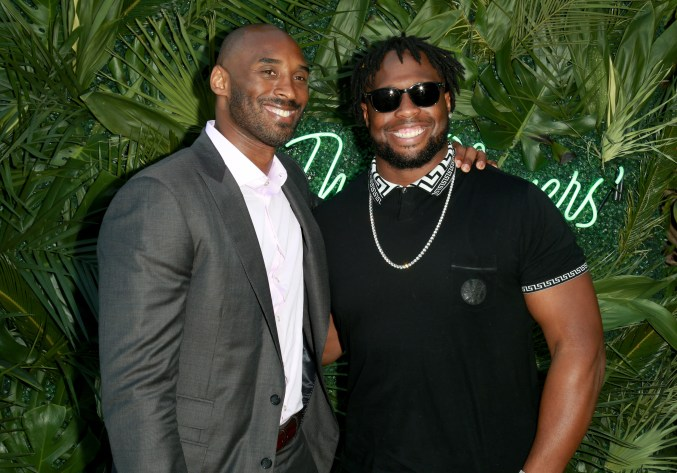JULY 11: NBA player Kobe Bryant (L) and NFL player Gerald McCoy attend The Players' Tribune Hosts Players' Night Out 2017 at The Beverly Hills Hotel on July 11, 2017 in Beverly Hills, California. (Photo by Leon Bennett/Getty Images for The Players' Tribune )