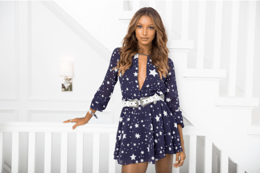 Jasmine Tookes in LOVERS + FREINDS x REVOLVE Lana Dress