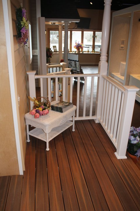 Composite Deck with Rail in Showroom