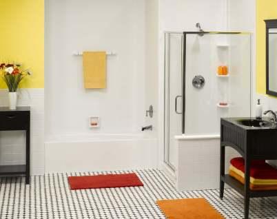 plain white tub standup shower