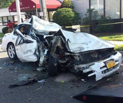 Our client had a serious injury in this car that was demolished in a car accident on Log Island