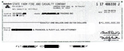 $1,000,000 Settlement Check