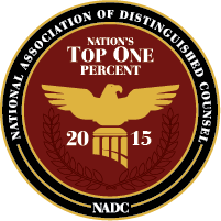 logo of Nation's Top One Percent awarded by the National Association of Distinguished Counsel