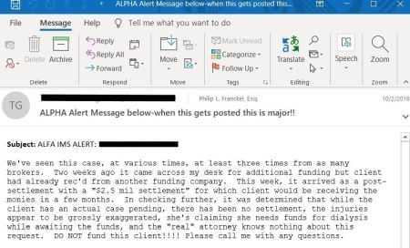Lawsuit Funding Alert email