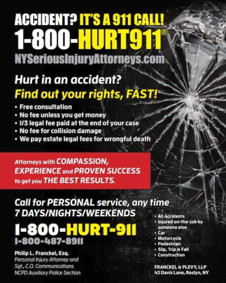 Police on-duty Accident Lawyer ad in NCPD PBA Newsletter