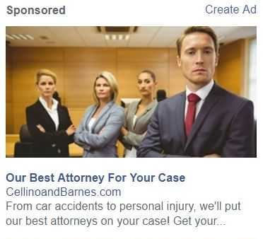 Cellino and Barnes advertisement stating they will put their best attorney on your case