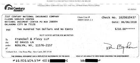 insurance check for court fee