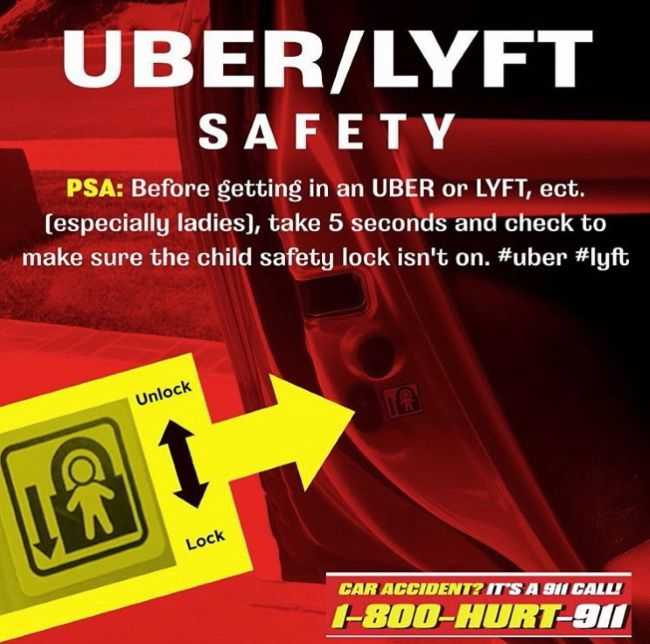 diagram showing how to check the car door child safety lock on Uber and Lyft