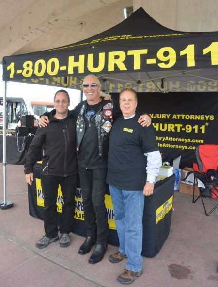 Motorcycle Attorneys Rob Plevy and Phil Franckel with Dee Snider at Dee Snider's motorcycle run