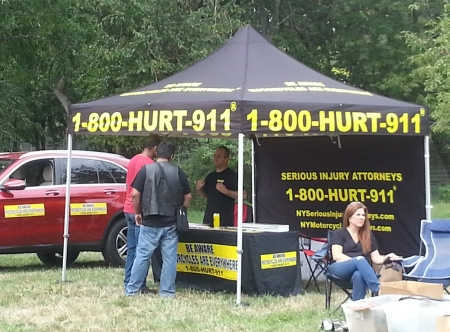 The Best Motorcycle Accident Lawyers in New York, Rob Plevy & Phil Franckel at the 1-800-HURT-911 Tent at the antique motorcycle show in Queens