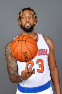 Sep 28, 2015; Greenburgh, NY, USA; New York Knicks forward Derrick Williams (23) during media day at NY Knicks practice facility. Mandatory Credit: William Hauser-USA TODAY Sports