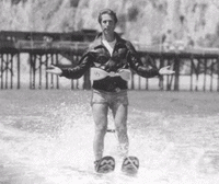 "Fonzie in a scene from ""Happy Days"" where jumping the shark originated."