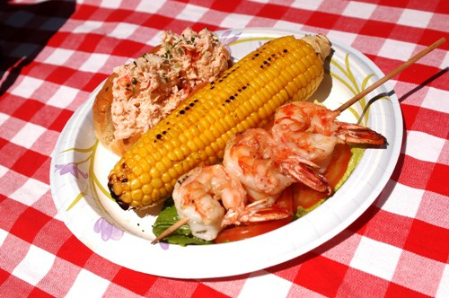 Ed's Lobster Roll, Grilled Shrimp Skewers & Corn