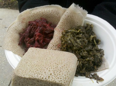 Beets and collard greens atop Ethiopian injera bread, from the Fojol Brothers' new Benethiopia food truck in Washington, D.C. Photo by Amanda Bensen.
