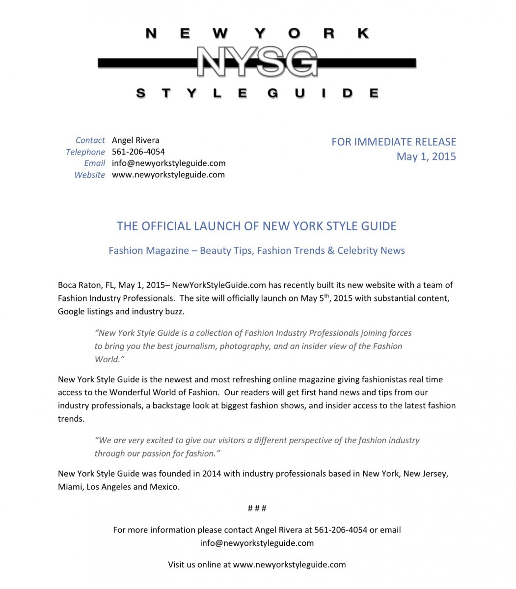 New York Style Guide Official Launch - Press Release