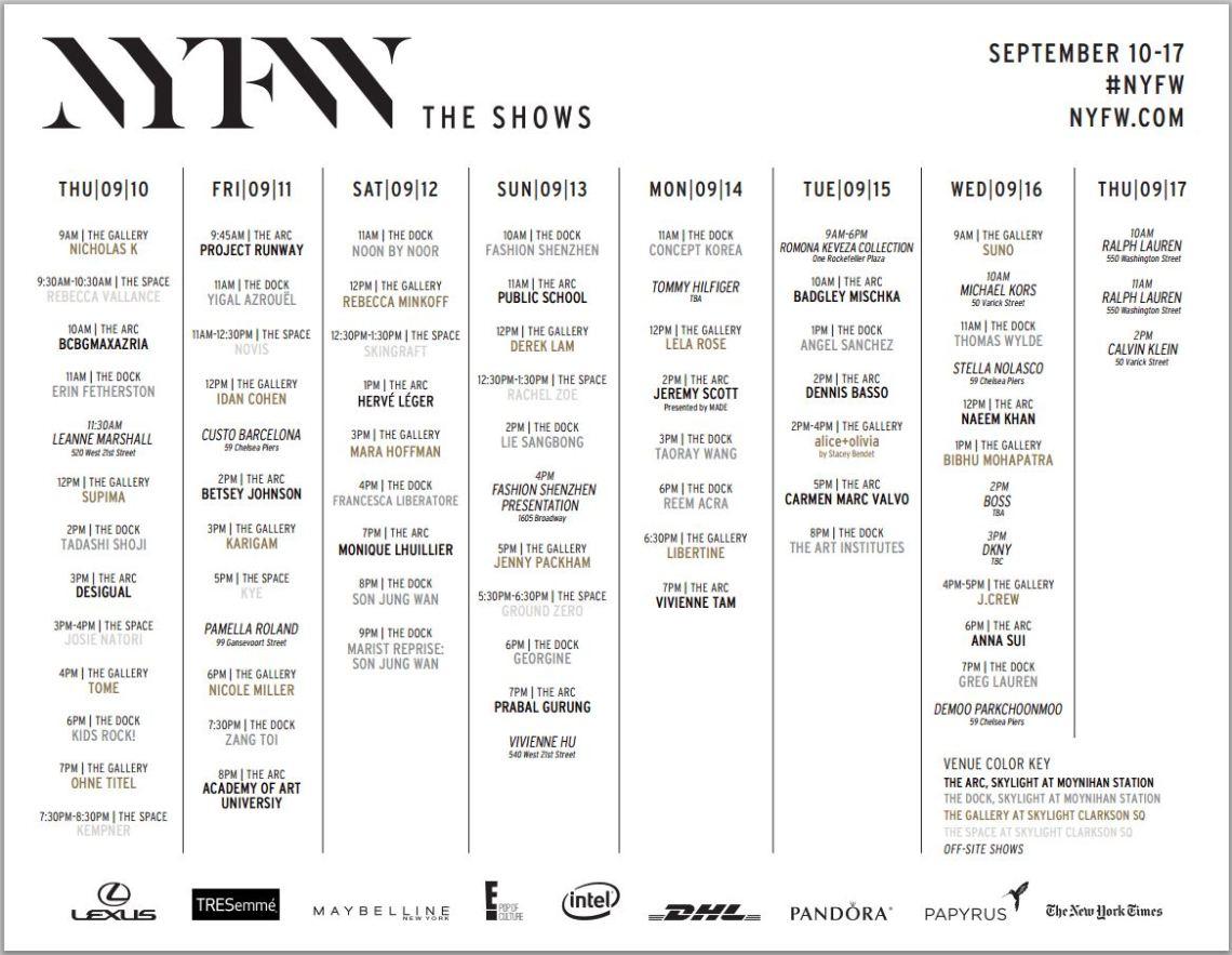 NYFW-Schedule